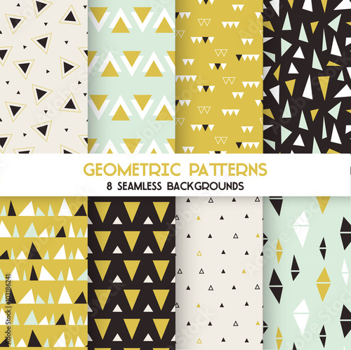 fototapeta na ścianę 8 Seamless Geometric Triangles Patterns - Texture for wallpaper