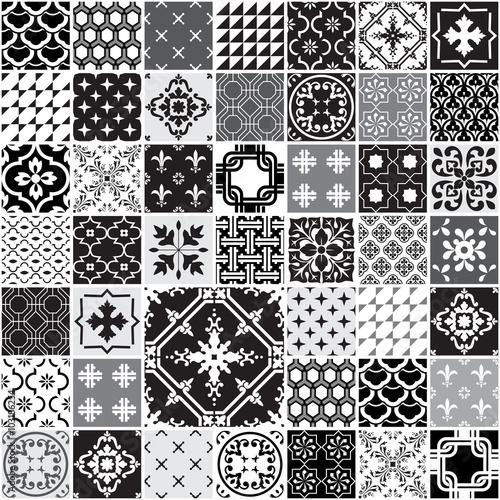 Tapeta ścienna na wymiar Wzór pattern - Zestaw Monochromatycznych Płytek