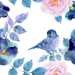 FototapetaWatercolor seamless pattern with flowers and birds.