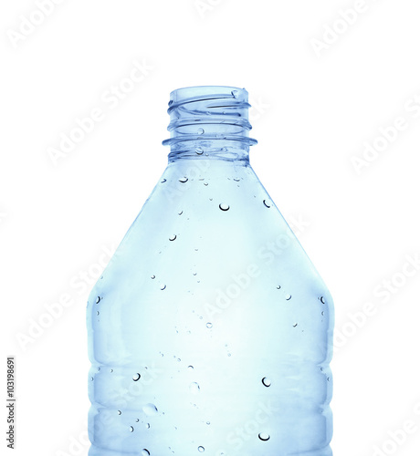 Fotografie, Obraz  Close up view of a plastic water bottle against white background