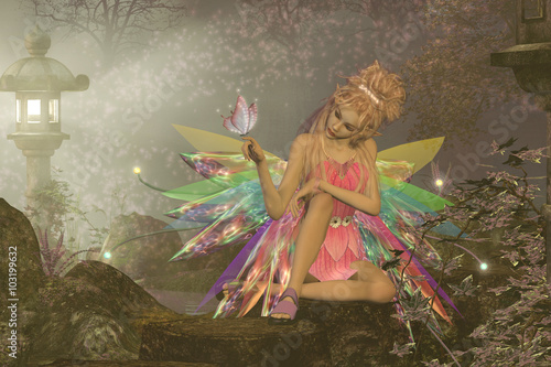 Fairy Dreams - A small fairy with wings waits as a pink butterfly lands on her finger in a magical woodland forest.