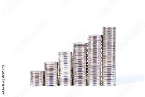 Savings Increasing Columns Of Silver Coins Isolated On
