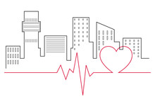 Heartbeat Line In Front Of The City Skyline Line Drawing