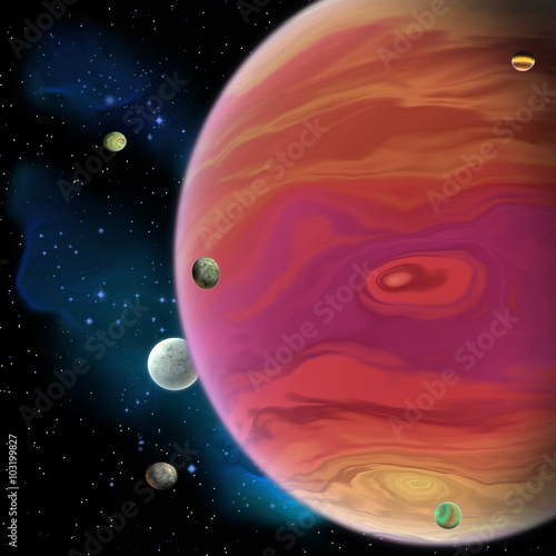 Fotografie, Obraz  Jupiter Planet - Jupiter is the largest gas giant planet in our solar system with 67 moons and has a large red spot vortex below the equator