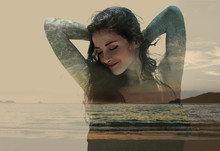 Double Exposure Of Beautiful Woman Mixed With Sunset Nature And
