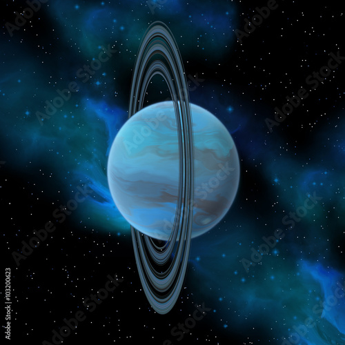 Uranus Planet - Uranus is the seventh planet in our solar system and has 27 moons and a vertical ring system Canvas Print