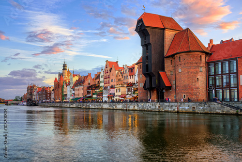 The Crane and gothic old town on sunset, Gdansk, Poland