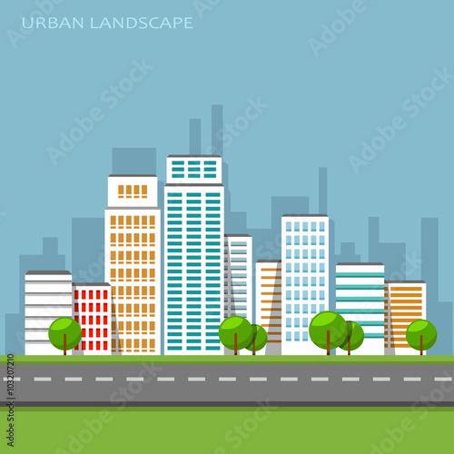 Cadres-photo bureau Cartoon voitures Vector flat illustration of city urban landscape.
