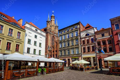 Gothic facades on the central square in Torun, Poland