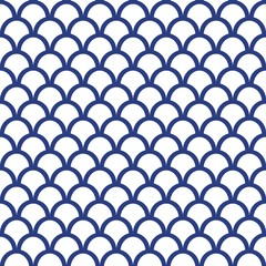 Panel SzklanyBlue Fish Scale Seamless Pattern