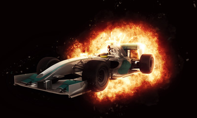 Fototapeta Formuła 1 3D racing car with fiery explosion effect