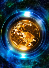 Planet Earth In Light Circle, Cosmic Space Background. Computer Collage. Earth Concept. Elements Of This Image Furnished By NASA.