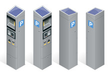 Parking Meter Allowing Payment By Mobile Phone, Credit Cards, Coins. Infographic Business Elements. Flat 3d Isometric Vector Illustration.