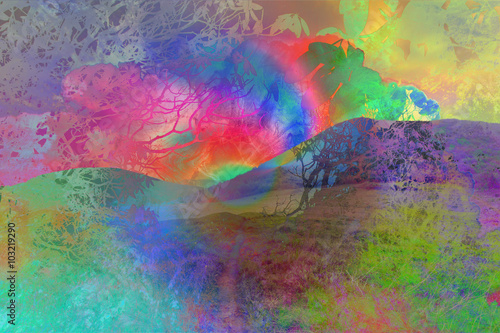 Photo  A dreamlike abstract psychedelic background image.