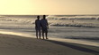 Couple enjoying romantic walk along the beach in silhouette at sunset, Cape Town,South Africa