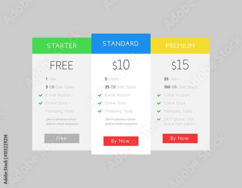 Fotografía  Vector price table. Web site Interface. Hosting banner
