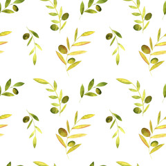 Fototapeta samoprzylepna watercolor seamless pattern with olives, leaves and branches