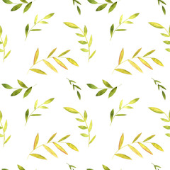 Fototapeta seamless pattern with watercolor green leaves