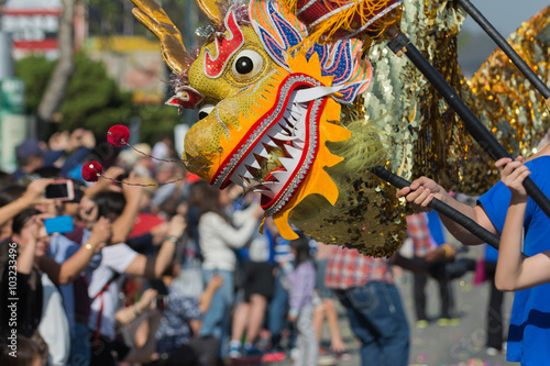Chienese dragon during the 117th Golden Dragon Parade