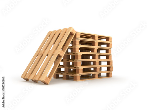 Fotografie, Obraz  stack pallets isolated on a white background