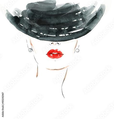Cadres-photo bureau Portrait Aquarelle Beautiful woman portrait. Hand painted fashion illustration