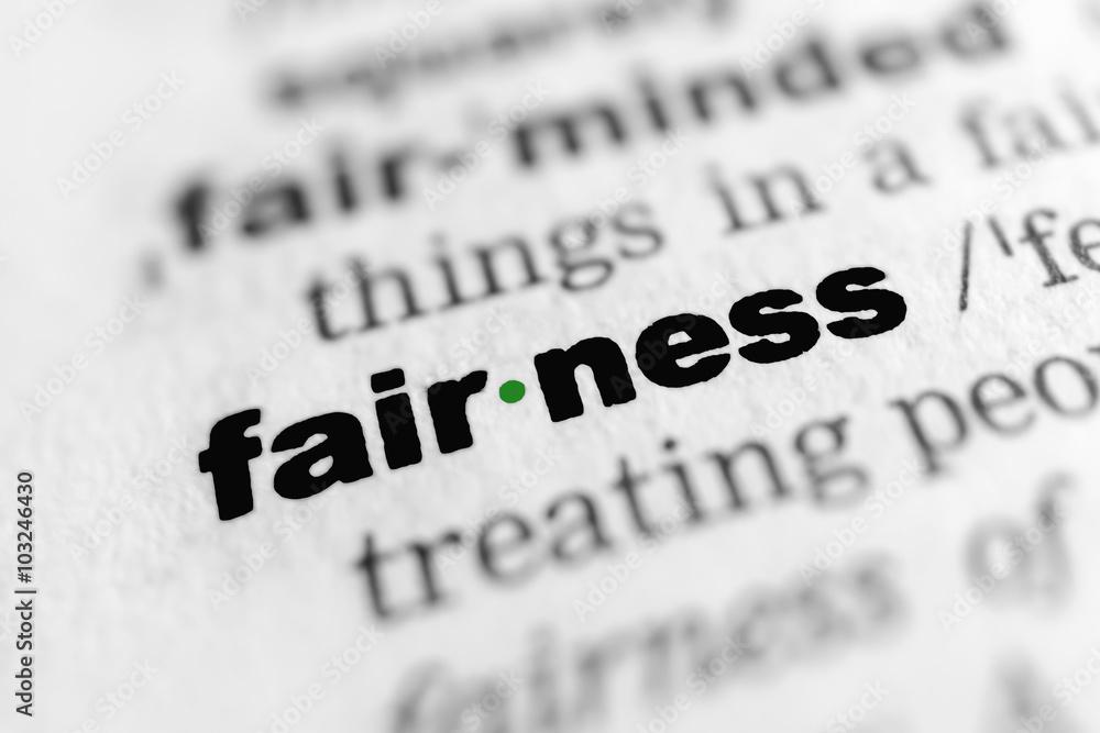 Fototapeta fairness - In German: Kulanz, Gerechtigkeit