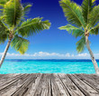 Tropical Seascape With Wooden Plank And Palm Trees On The Turquoise Ocean - Summer Holiday Background