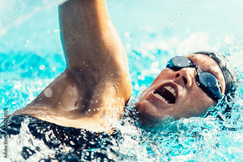 Swimming freestyle action closeup Canvas Print