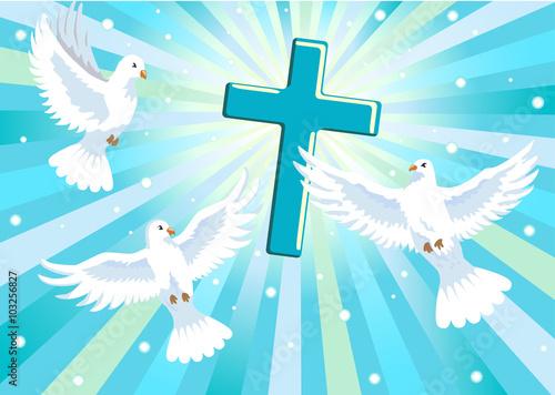 trzy-golebie-i-krzyz-w-blekitne-niebo