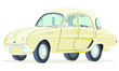 Caricatura Renault Dauphine beige vista frontal y lateral