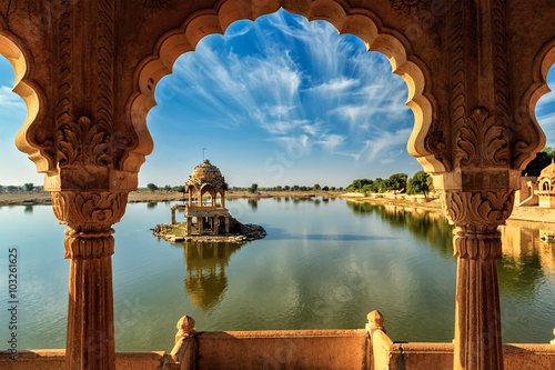 Fotobehang India Indian landmark Gadi Sagar in Rajasthan