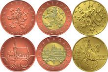 Vector Set Reverse And Obverse Czech Money Ten, Twenty And Fifty Crones Coins
