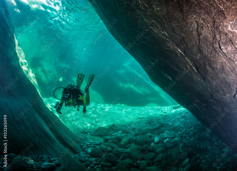 Fototapeta Scuba diving in Switzerland