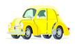 Caricatura Renault 4CV Commerciale amarillo vista frontal y lateral