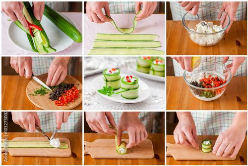Fotografie, Obraz  A Step by Step Collage of Making Feta Cucumber Rolls