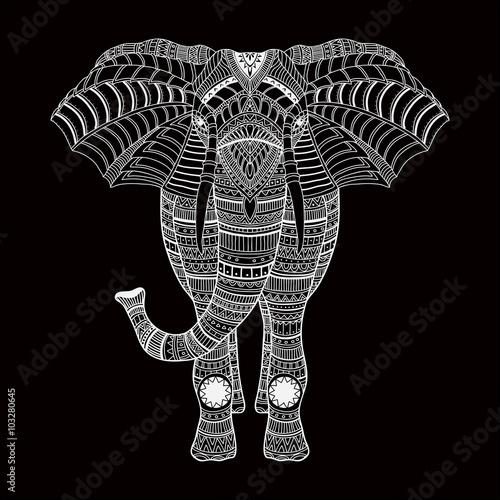 Printed kitchen splashbacks Watercolor skull doodle vector handdrawn elephant in black and white
