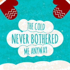 Juicy colorful typographic poster with the text on the white clouds on blue winter background with snow .Vector