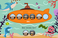 Cartoon Vector Illustration Of Education Will Continue The Logical Series Of Colourful Forest Animals On A Beautiful Orange Submarine. Matching Game For Preschool Children. Vector