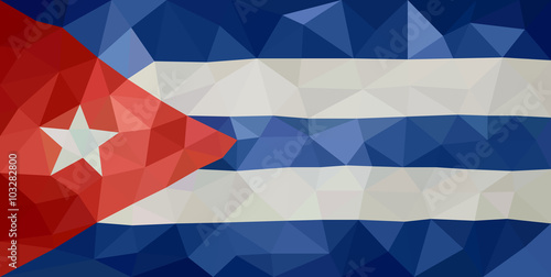 Fotografie, Obraz  Cuba low poly triangulate flag