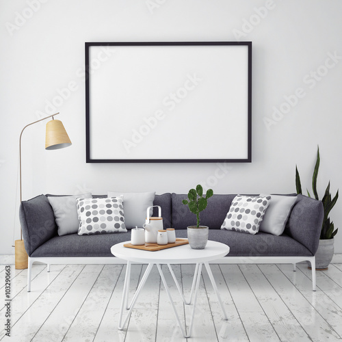 Fotografía  mock up poster with vintage hipster loft interior background, 3D render