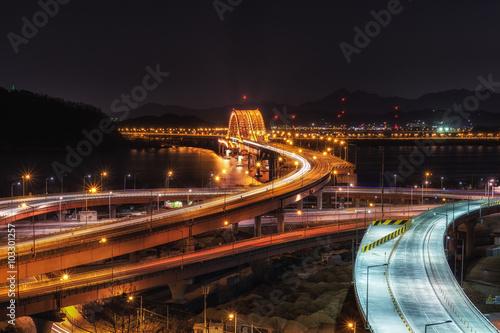 banghwa bridge at night over han river Poster