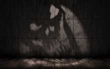 Grunge Background With Shadow In The Shape Of A Skull, Scary Dark Underground Room