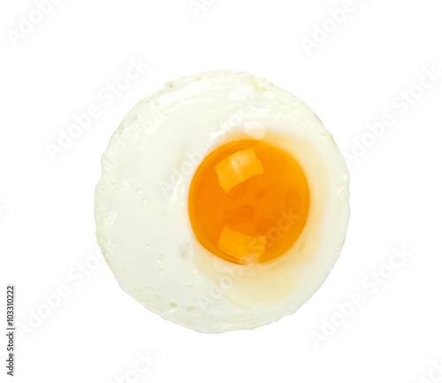 Deurstickers Gebakken Eieren Fried egg isolated on a white background