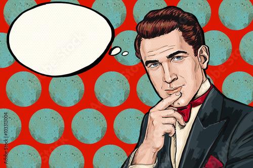 Vintage myślenia Pop Art Man z bubble myśli. Zaproszenie na przyjęcie. Człowiek z komiksów. Elegancki. Klub dżentelmena. myśl, myśl, pomysł, myśli, gigolo, wygląd, tło pop-artu, smoking