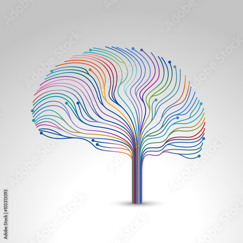 Fotografia  Creative concept of the brain, vector illustration
