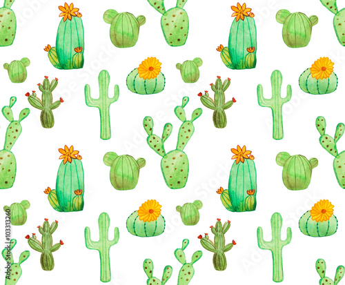 Cotton fabric Watercolor cactus seamless pattern