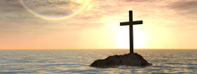 Conceptual Christian Cross On Island In The Ocean At Sunset Banner