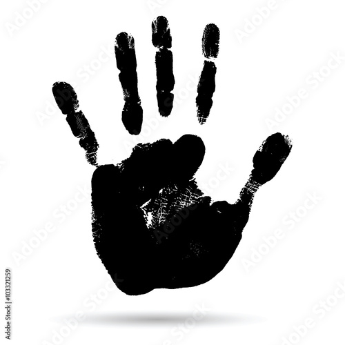 Fotografie, Obraz  Conceptual black paint human hand or handprint of child