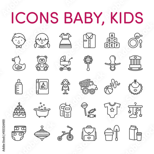 Photo  Kids baby icons black and white line