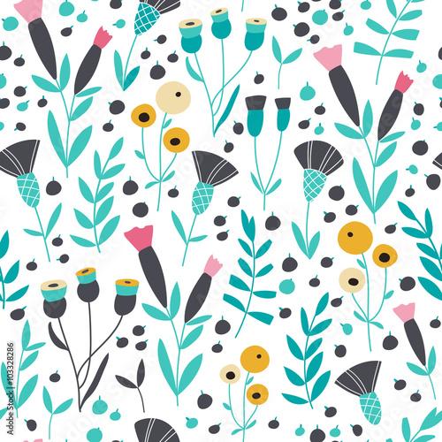Seamless bright scandinavian floral pattern
